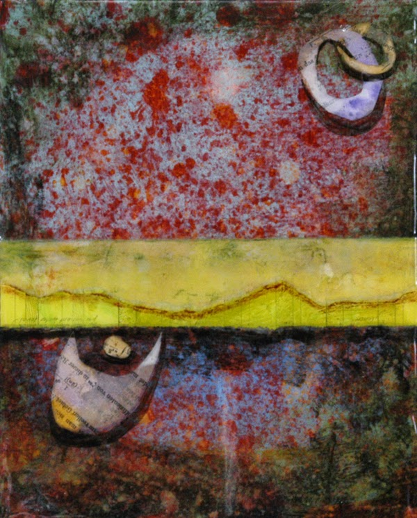 collage painting with resin finish