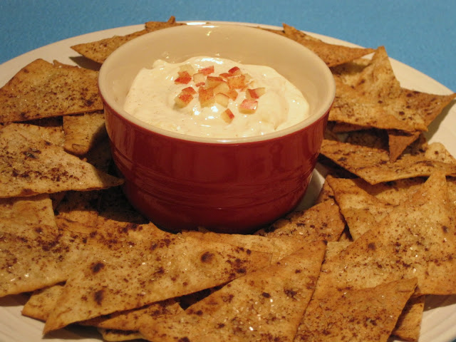 Cinnamon Sugar Lavash Chips and Cream Cheese Apple Dip