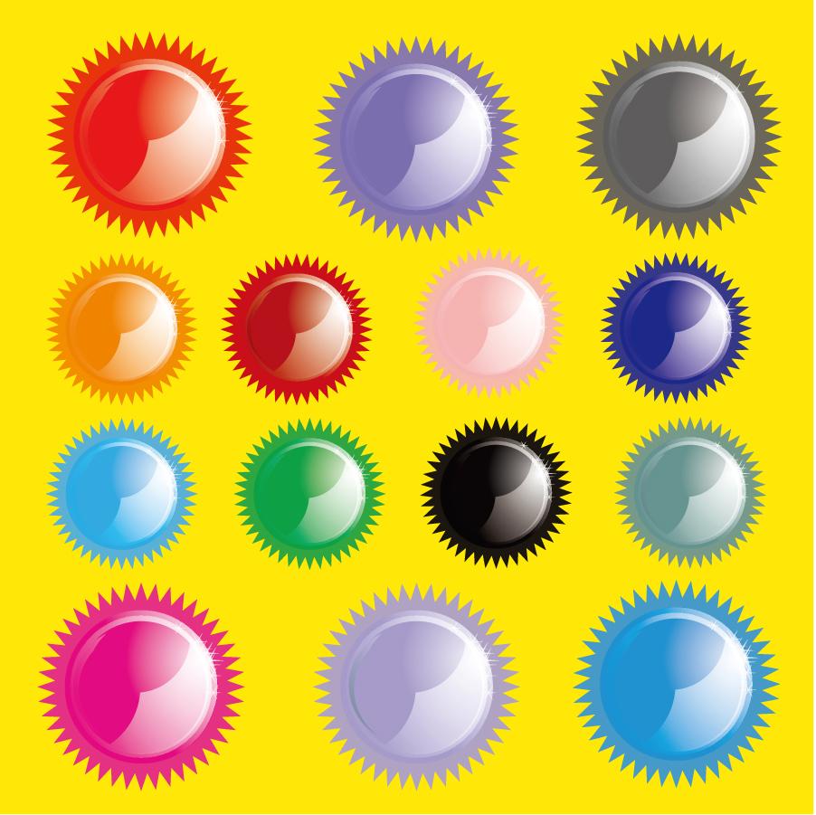 カラフルに反射するギザギザのボタン Shiny Sun Buttons イラスト素材