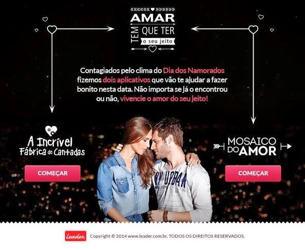 Lojas Leader tem aplicativo de Facebook para o Dia dos Namorados desenvolvido pela Agência Kindle