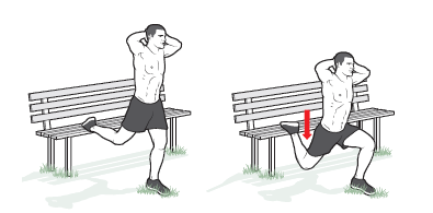 Bulgarian split squat all fitness Stand with your back about 2 feet from the seat of a park bench. Place the top of your right foot on the seat and your hands behind your head. This is the starting position. Keeping your torso upright, lower your body until your left thigh is parallel to the ground. Pause, and
