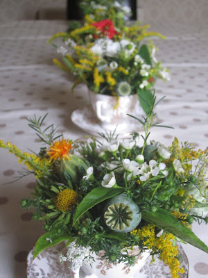 teacup arrangements for a golden wedding