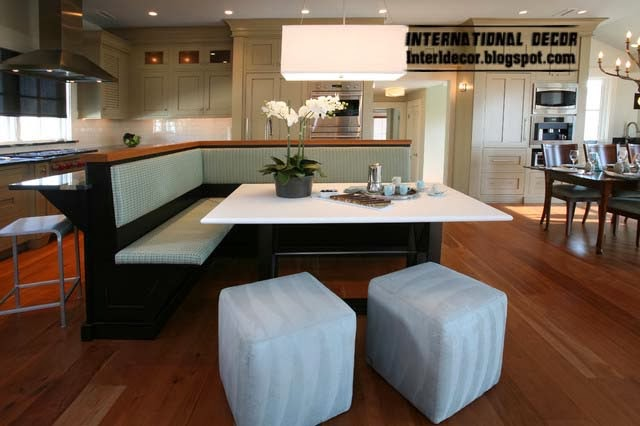 Ottoman and banquette, white banquette seating for modern interior