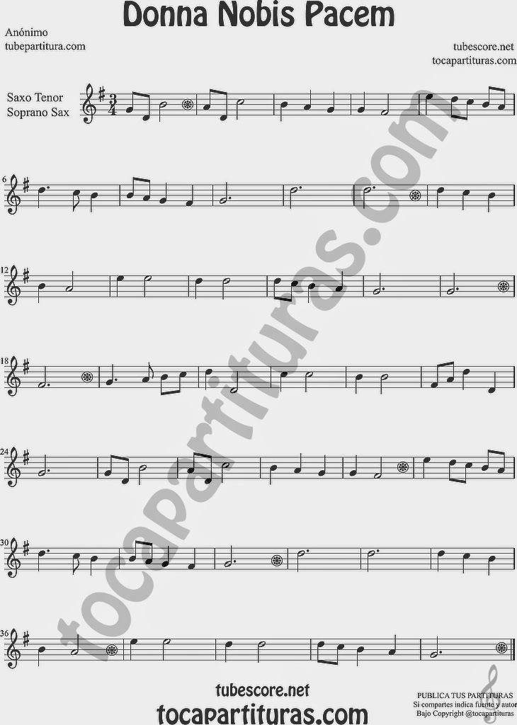 Donna Nobis Pacem Partitura de Saxofón Soprano y Saxo Tenor Sheet Music for Soprano Sax and Tenor Saxophone Music Scores