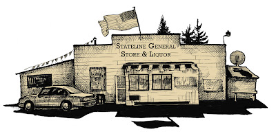 drawing of a store building
