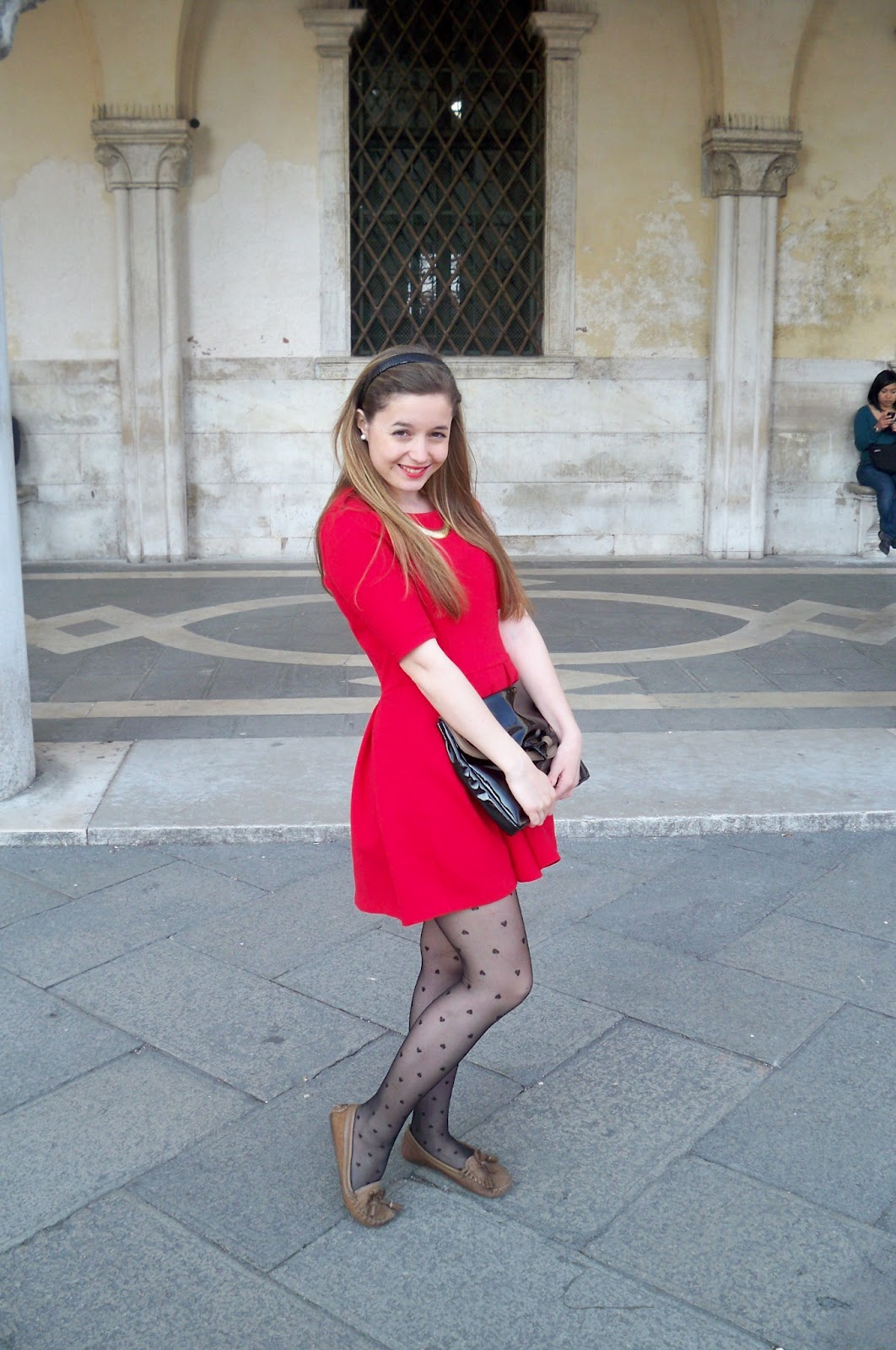 Red Cocktail Dress With Black Tights