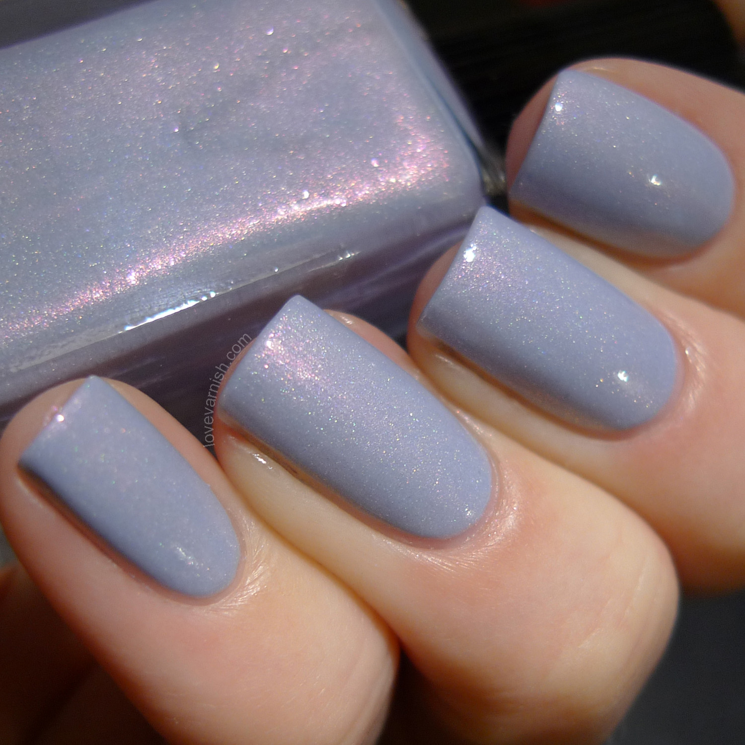 Cadillacquer She's One Of A Kind soft grey shimmer polish