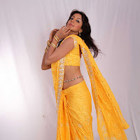 Sanjana in hot yellow saree