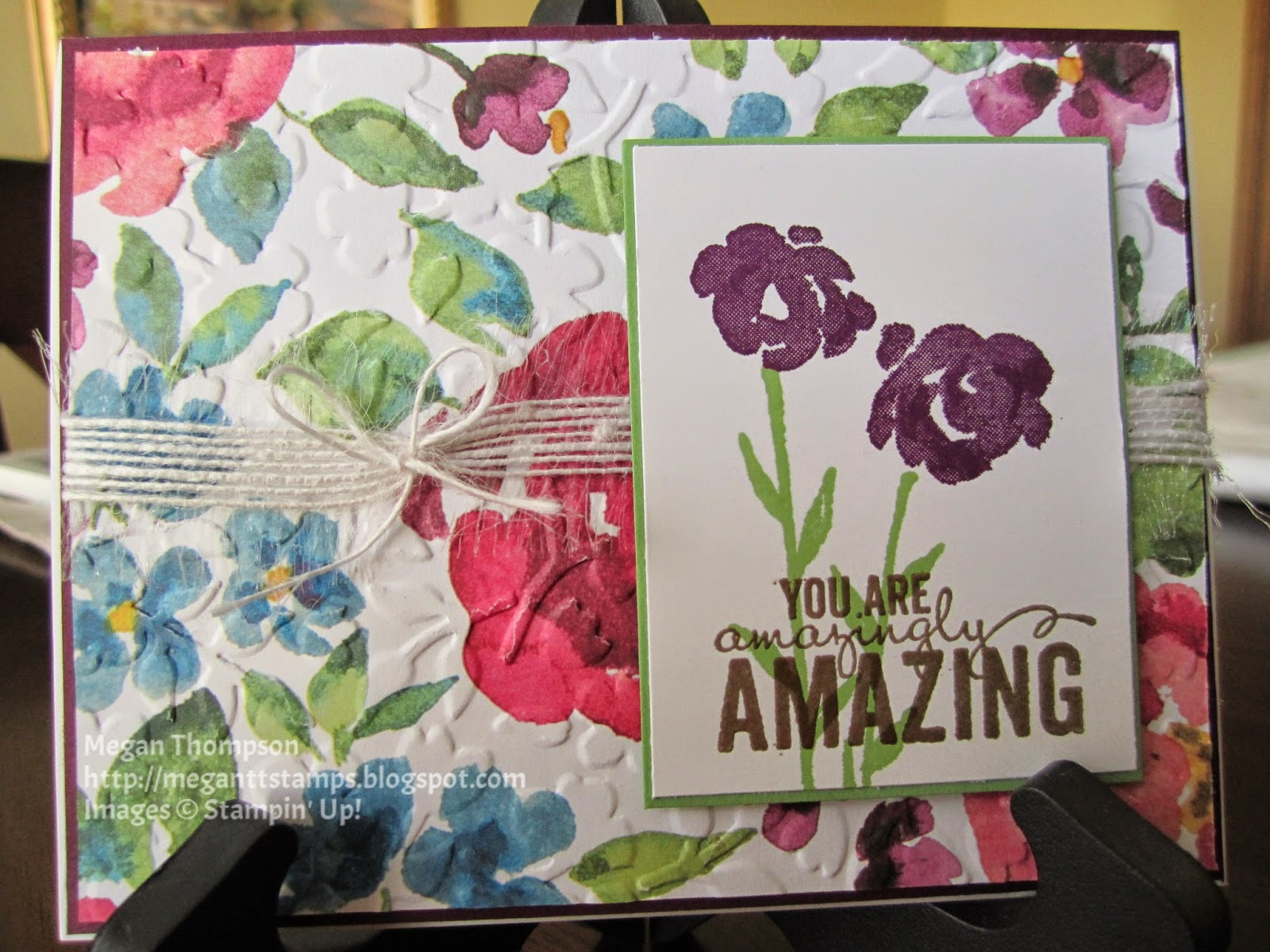 Front of card in details with flower and you are amazingly amazing
