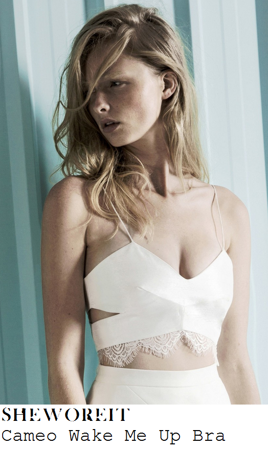 mollie-king-white-cut-out-detail-cami-strap-lace-hem-bralet-bbc-breakfast