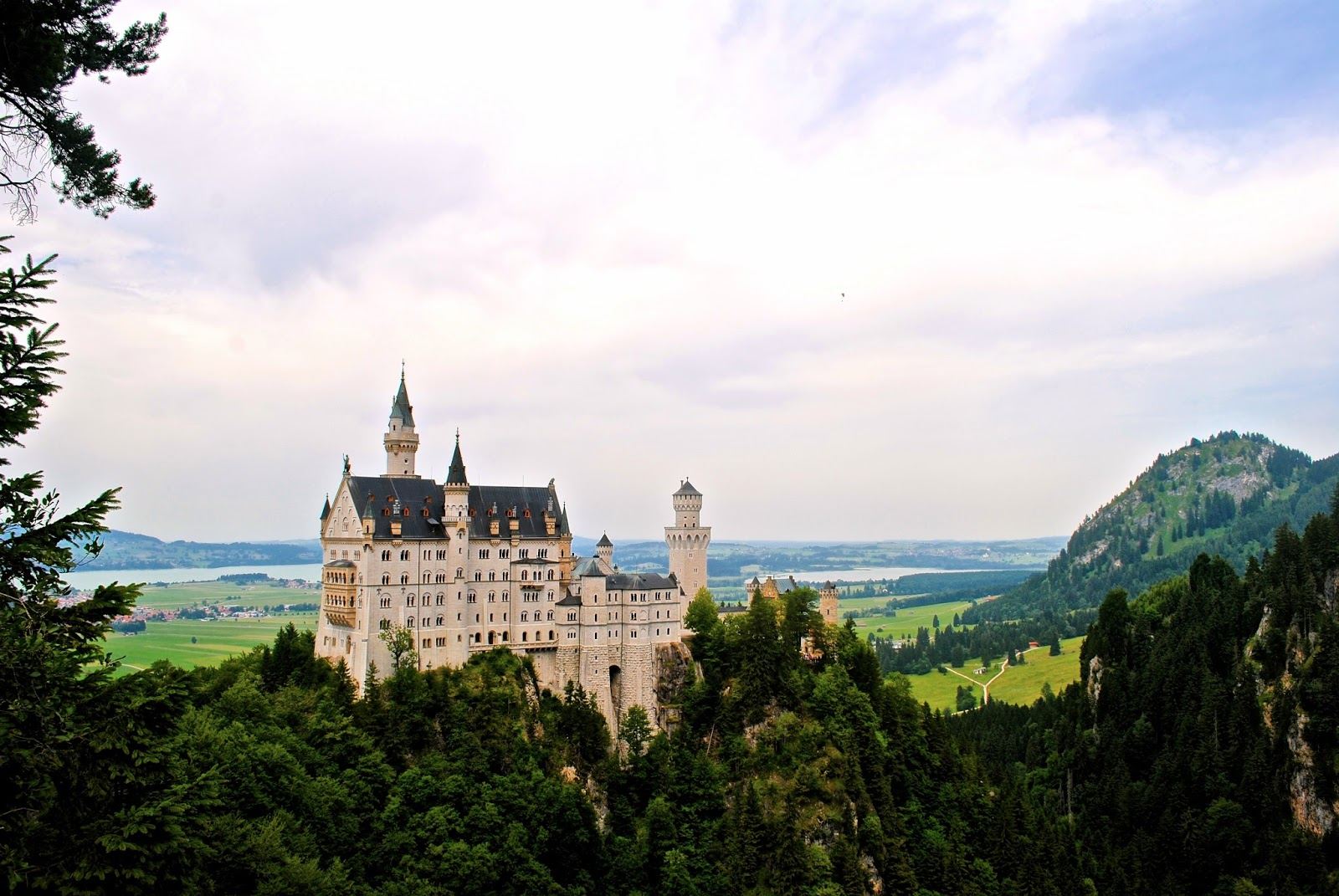 View of Neuschwanstein Castle from a nearby bridge on day trip with Viator
