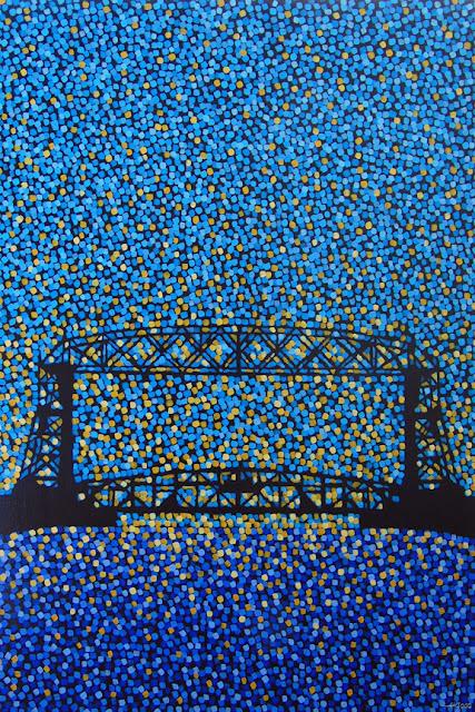 Aerial Lift Bridge 3, sun sparkles, aaron kloss, siiviis gallery, duluth mn, pointillism