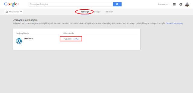 Publikacja z Wordpressa na Google+ - ustawienia widoczności