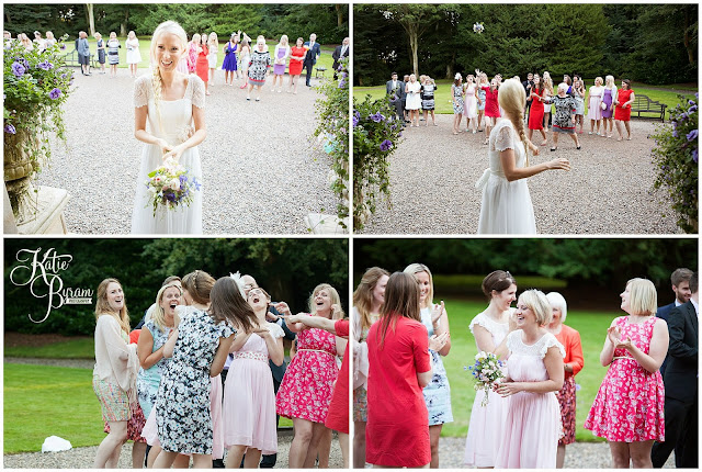 bouquet toss, eshott hall, eshott hall wedding, morpeth wedding, katie byram photography, vintage wedding