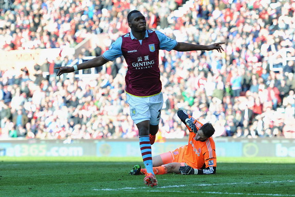 Christian Benteke scored 19 goals in 34 Premier League games in his first season at Aston Villa