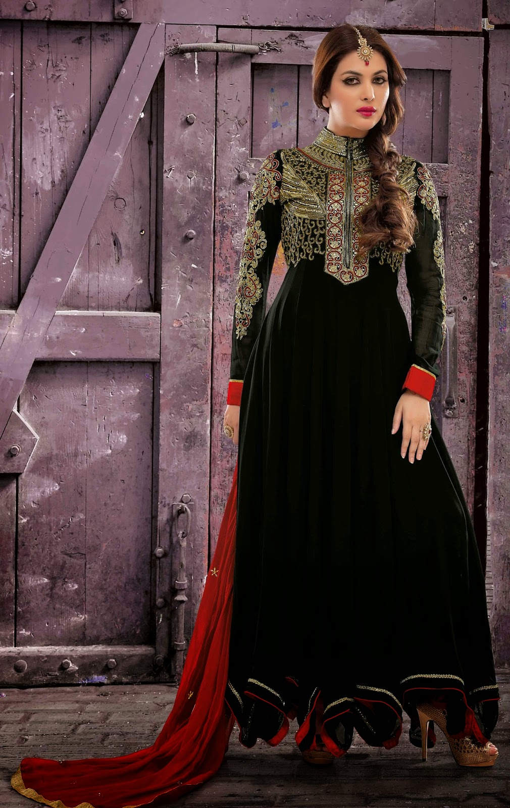 Faux Georgette Black Designer Embroidery Anarkali Suit with Dupatta