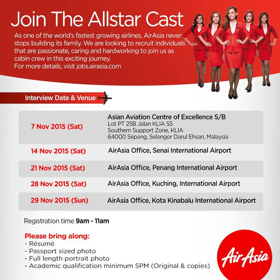 fly gosh air asia flight attendant recruitment walk in fly gosh air asia flight attendant recruitment walk in interview 2015