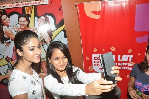 Varun and Ileana Promote Main Tera Hero at Cafe Coffee Day Event
