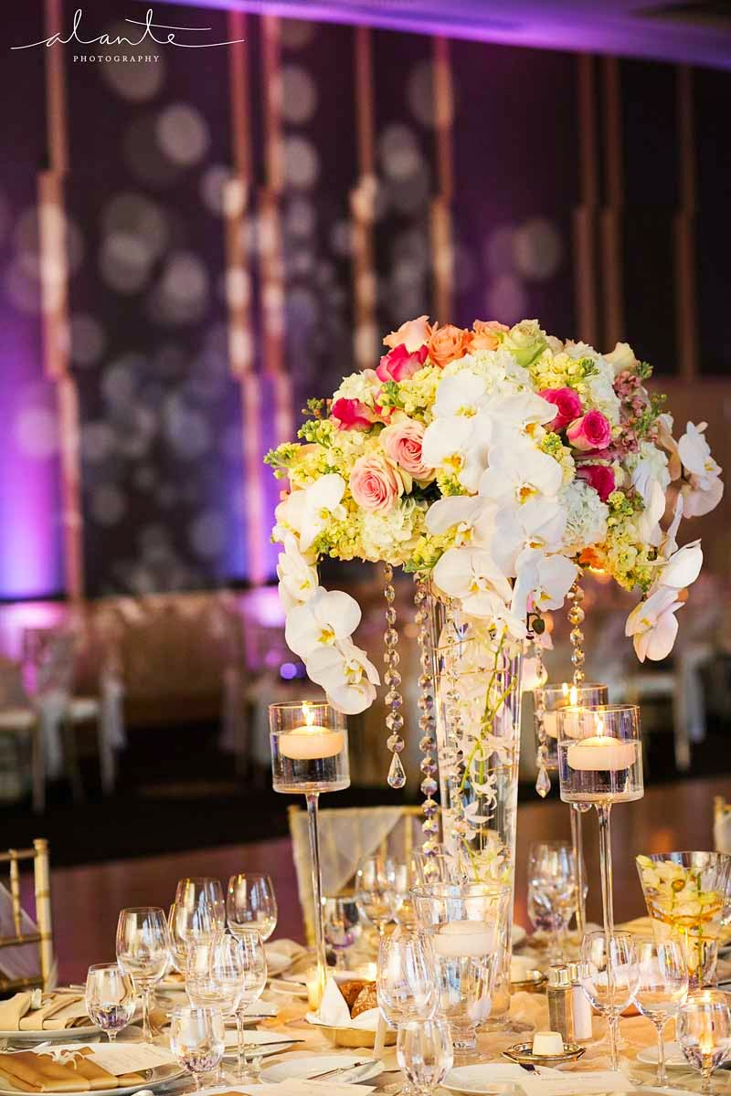 Four Seasons Hotel Seattle wedding, luxury wedding reception, white orchids, lux wedding flowers