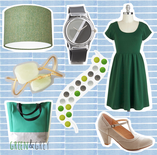 green and grey items for cardboardcities colour combo love post