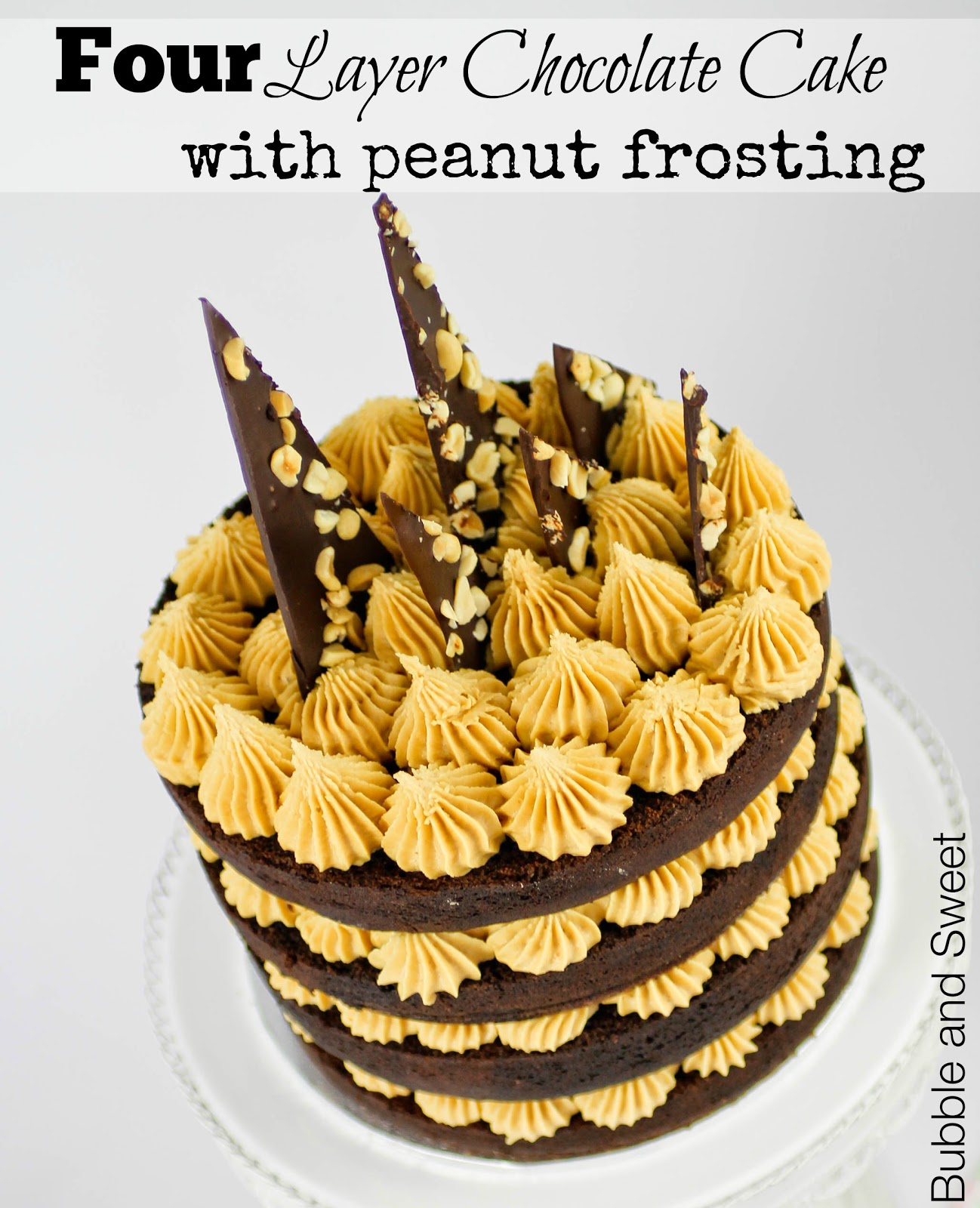 Bubble and Sweet Chocolate peanut layer extravaganza cake