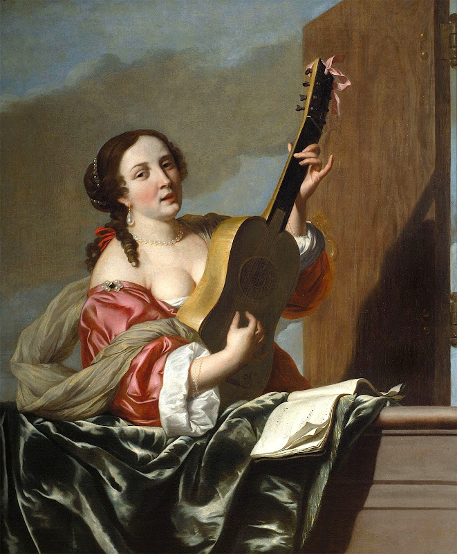 Johannes van Bronchorst - A Lady Playing a Guitar on a Balcony