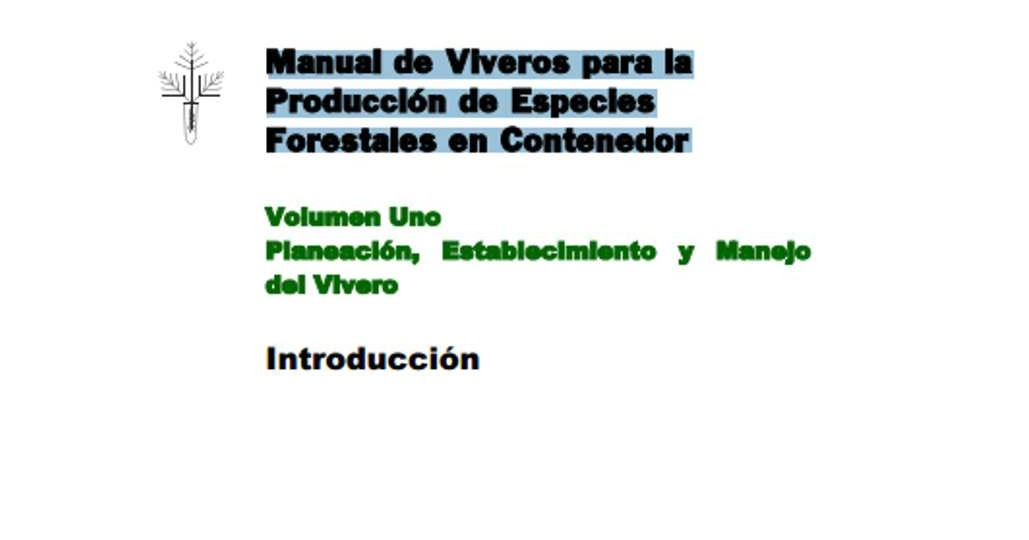Ingenieria forestal documento manual de viveros para la for Proyecto productivo de vivero forestal