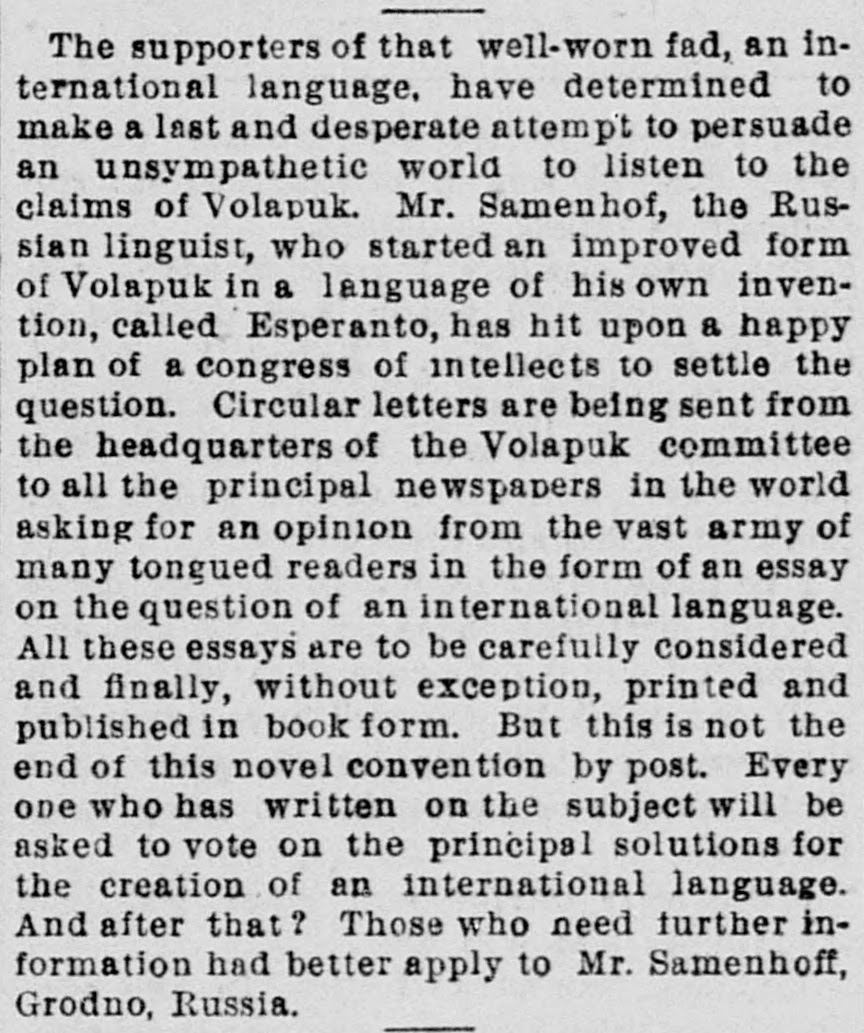 Newspaper clipping on Esperanto, San Francisco Call