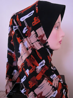 tudung cotton printed oren
