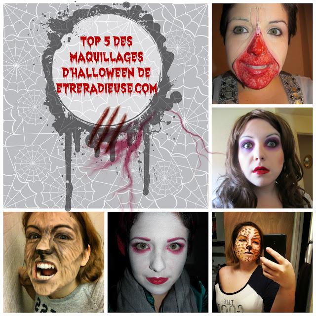 Top 5 des maquillages d'Halloween les plus populaires sur mon blog