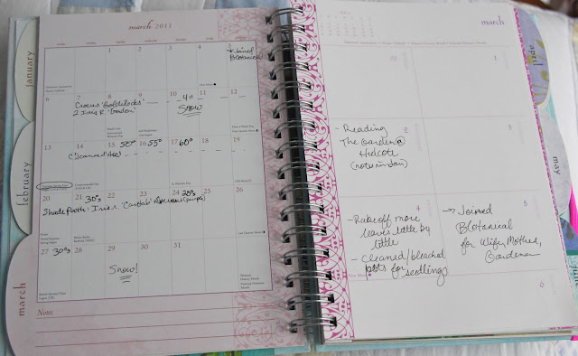 "Left side is the whole month calender for the ""bloom schedule"" and the right side is daily blocks for writing chores lists and/or the jobs that you complete."