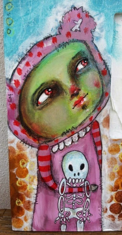 Whoopidoo...ings: Zombie Bear Girl - mixed media on Ikea mirror frame.