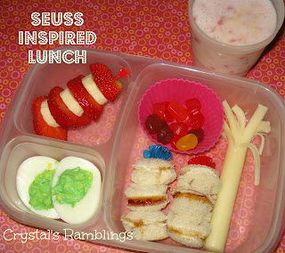 Seuss Inspired Lunch Truffula Trees, Barbaloot Fruit, Green Eggs, and a Seuss Hat