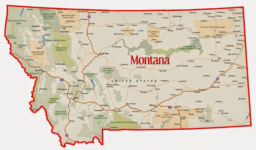 Striking image in printable map of montana
