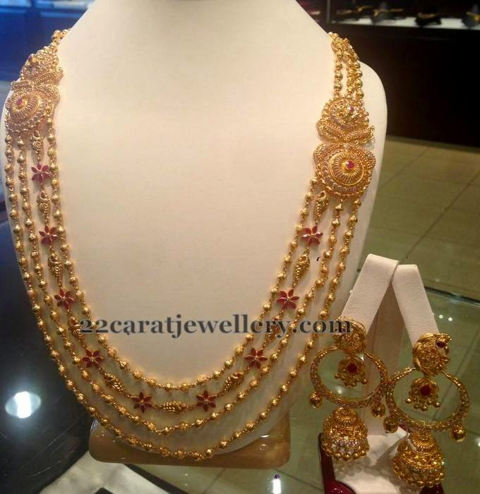Gold Balls Floral Chain with Chandbalis