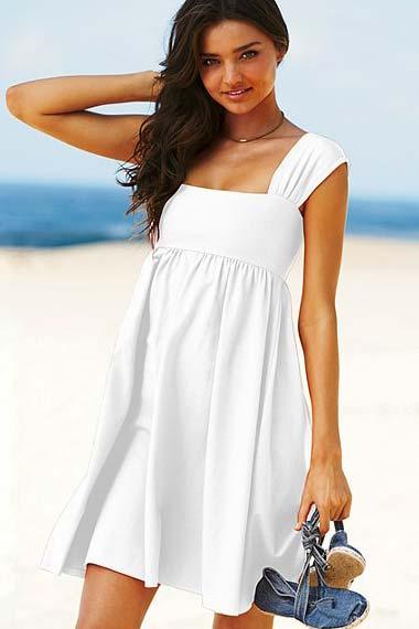 Simple Women Summer Dress White Lace Sleeveless Cute Casual Summer Dresses