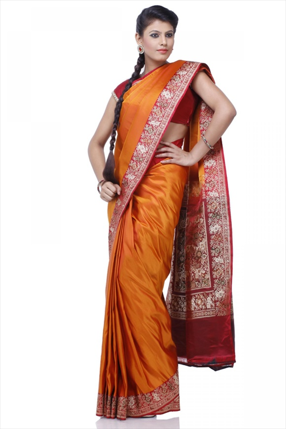 Flame Orange Satin Banarasi Saree