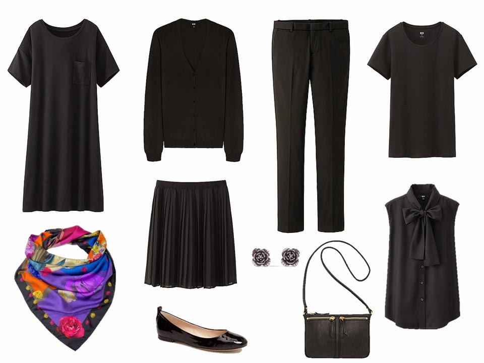 A simple black capsule wardrobe for stress dressing