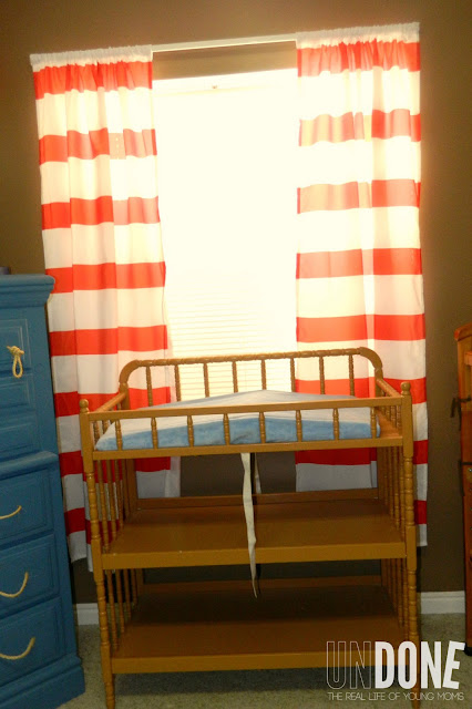 {The UNDONE Blog} Red striped nursery curtains from a SHOWER CURTAIN! So cute!