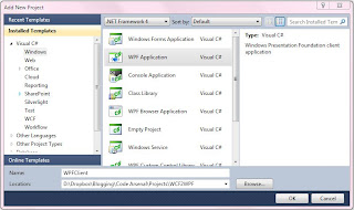 Add New Project - WPF Client