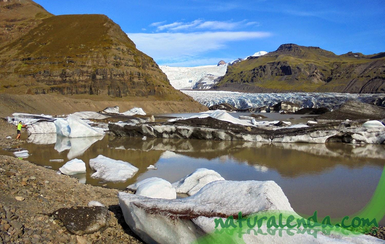 trozos de hielo del glaciar