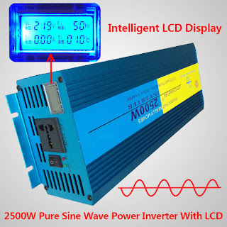 LCD DISPLAY Pure Sine Wave power inverter 2500W Peak 5000W DC 12V TO AC 220V