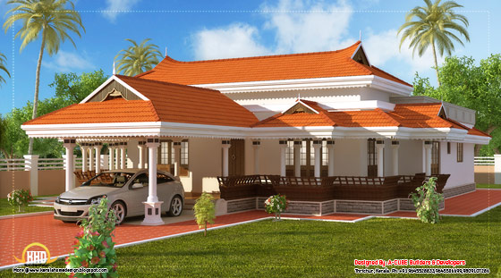 View 2 of Kerala model house design - 2292 Sq. Ft. (213 Sq. M.) (255 Square Yards) - March 2012