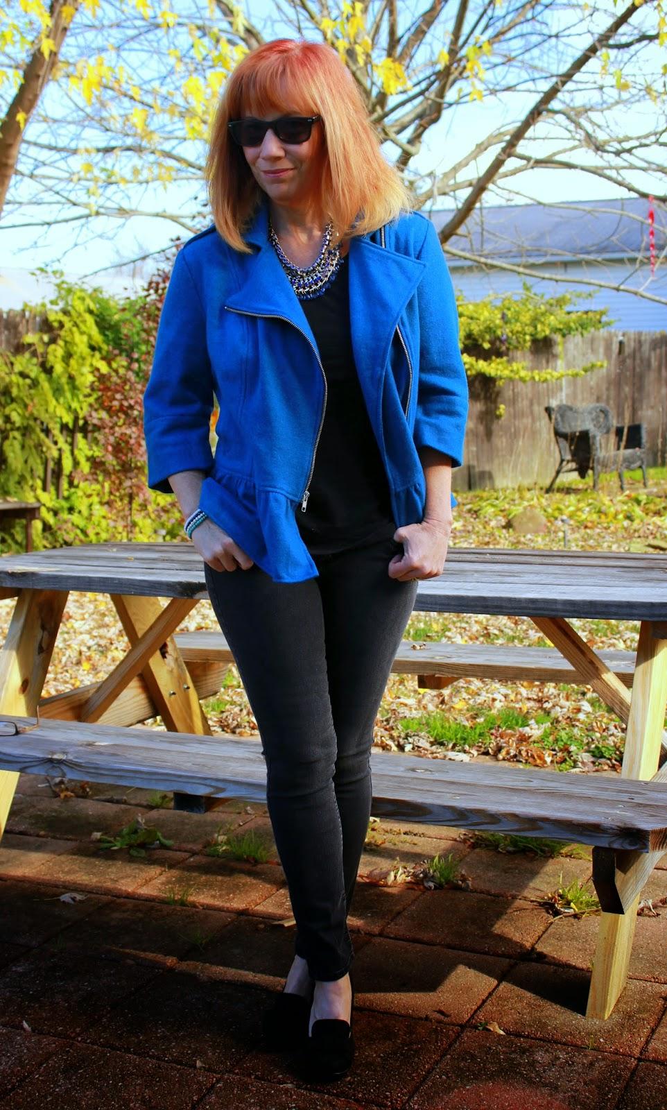 eShakti Collaboration: Blue Peplum Moto Jacket, Black Skinny Jeans And Black Pumps