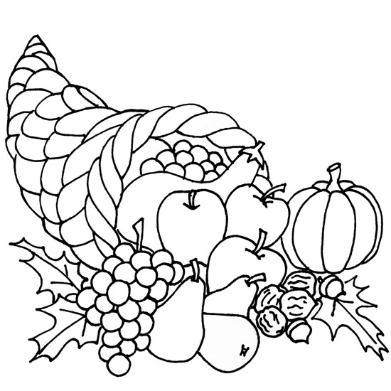 carton color thanksgiving feast coloring pages