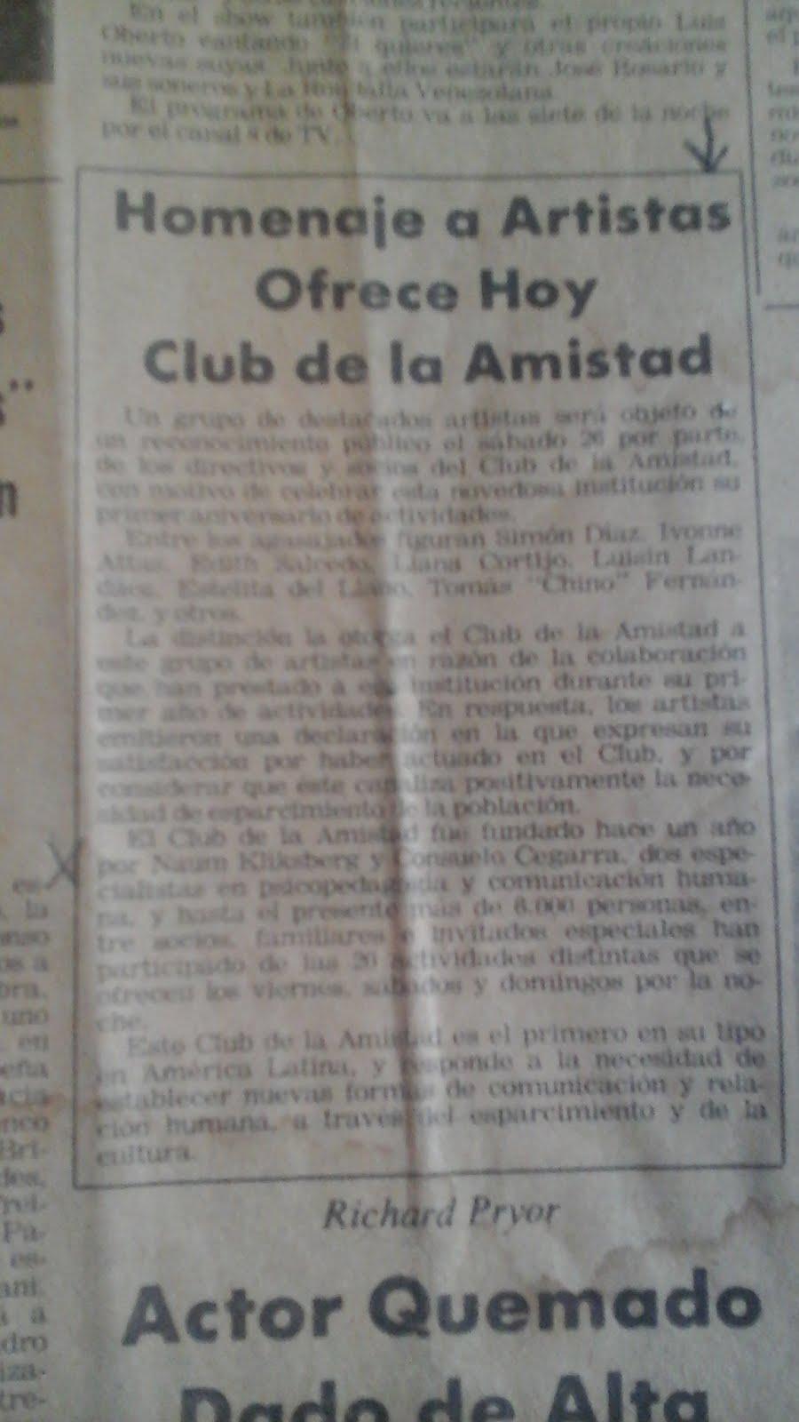 62 - Periódico El Universal,Venezuela, 26/07/1980. Noticia sobre el Club de la Cultura y la Amistad