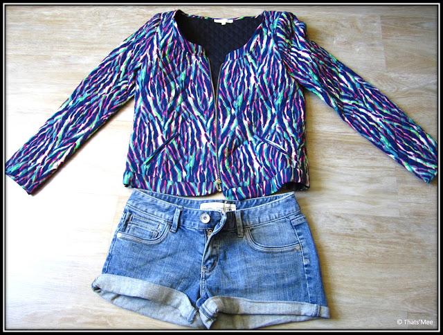 veste été zippée marine Tacoma imprimée Bash Ba&Sh, short denim Just Jeans