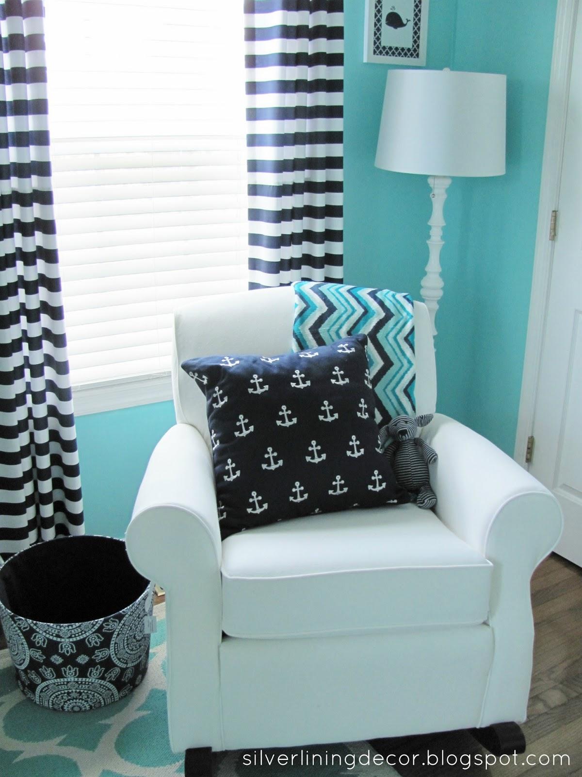 silver lining decor nautical nursery reveal. Black Bedroom Furniture Sets. Home Design Ideas