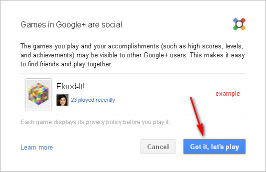 Google+ Games: Prompt Window