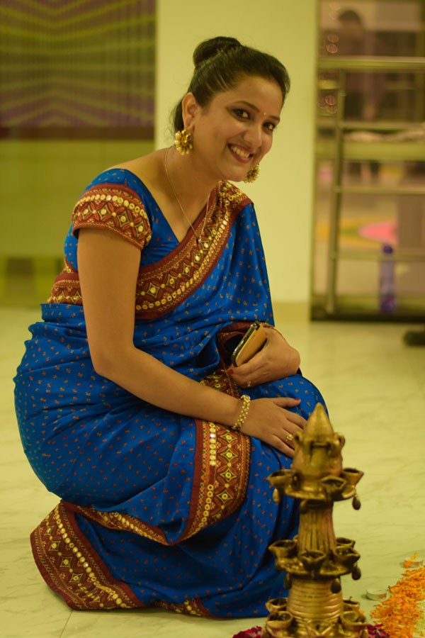 Diwali look Blue Bandhani Kathiyawadi border saree